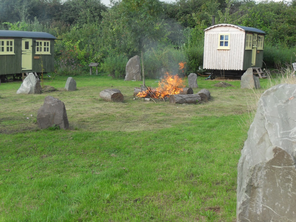 Stone circle with fire